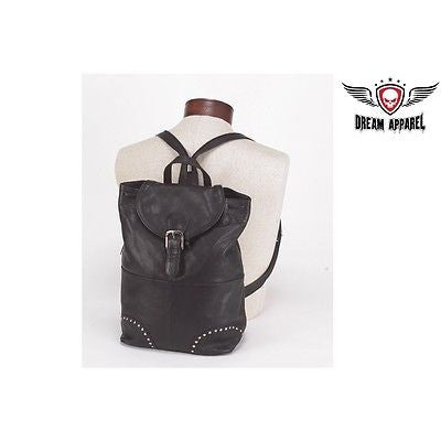 MOTORCYLE WOMEN'S GENUINE LEATHER STUDED SHOULDER BACK PACK WITH ONE BIG POCKET