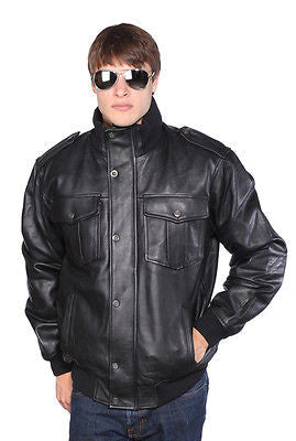 MEN'S BLK BOMER LAMB LEATHER JACKET VERY SOFT NEW W/ZIP OUT LINER 4 POCKETS