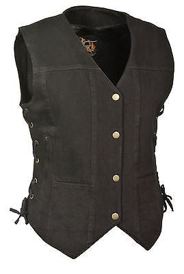 WOMEN'S MOTORCYCLE BLACK 6 POCKET DENIM VEST WITH SIDE LACES TWO GUN POCKETS