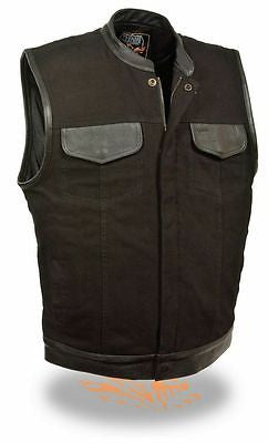 Men's Motorcycle Blk Son of Anarcy denim vest with leather trim