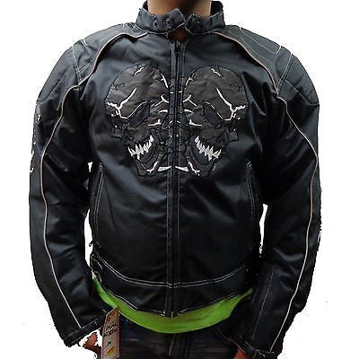 MEN'S MOTORCYCLE SKULL TEXTILE MESH JACKET WITH ARMORS/PADS INSIDE ZIPOUTLINER