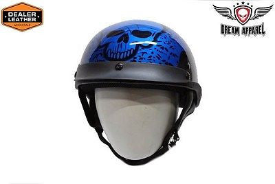 MOTORCYCLE BRAND NEW DOT APPROVED HALF HELMET WITH BONEYARD BLUE GRAPHIC NEW
