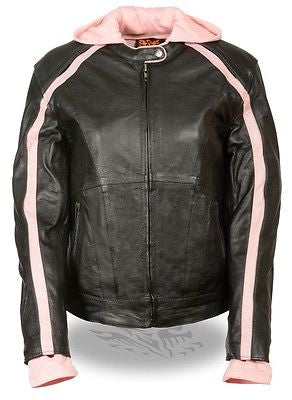 WOMEN'S STRIPED MOTORCYCLE SCOOTER LEATHER JACKET W/ REMOVABLE HOODIE BLK PINK
