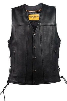 MEN'S MOTORCYCLE CLUB LACE SIDE VEST WITH 2 GUN POCKETS WITH FRONT SNAP BUTTONS