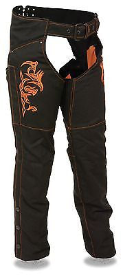 MOTORYCLE WOMEN'S ORANGE TEXTILE TRIBAL EMBRIODERY& REFLECTIVE DETAIL CHAP