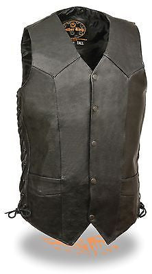 MEN'S CLASSIC SIDE LACE BIKER VEST W/5 SNAP BUTTONS WITH V NECK TALL VEST