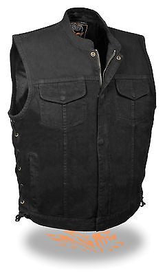 MEN'S SON OF ANARCHY BLK DENIM MOTORCYCLE VEST 1 GUN POCKET INSIDE WITH S/LACES