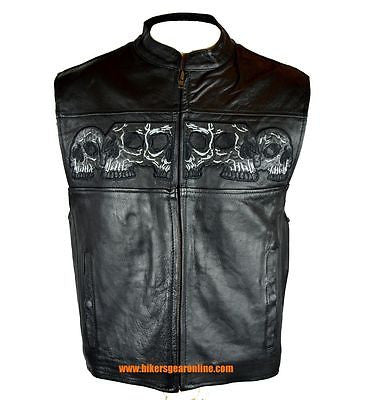 MEN'S MOTORCYCLE RIDERS REFLECTIVE SKULL REAL LEATHER VEST VERY SOFT NEW