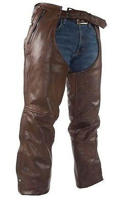 MEN'S MOTORCYCLE REMOVABLE LINER PANT BRN RETRO LEATHER CHAP WITH 3 POCKETS