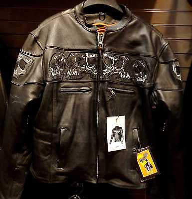 Men's Biker riding reflective skull leather jacket with 2 Gun pockets