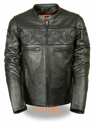 Men's Milwaukee Motorcycle Leather Jacket Reflective Skull