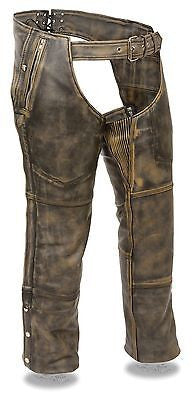 Motorcycle Men's Distressed brn Four pocket leather chap