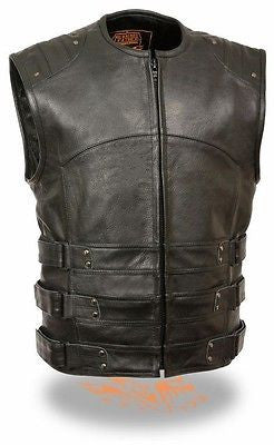 MEN'S MOTORCYCLE UPDATED SWAT TACTICAL STYLE GUNPOCKET LEATHER VEST