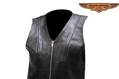 MOTORCYCLE MOTORBIKE LADIES PLAIN LEATHER ZIPPER VEST WITH V NECK SOFT LEATHER