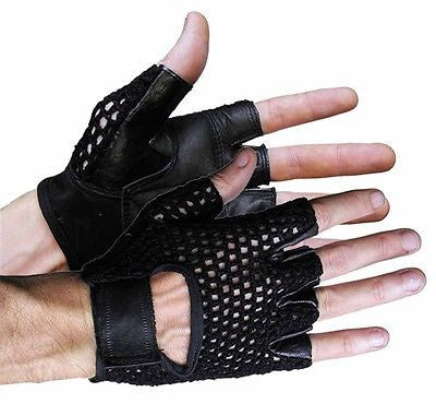 MOTORCYCLE BIKE GLOVES RIDING GLOVES MESH SHORTY GLOVES UNISEX BLACK