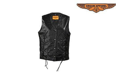 MOTORCYCLE MOTORBIKE LADIES LEATHER ZIPPER VEST WITH FRONT LACES W/2 GUN POCKETS