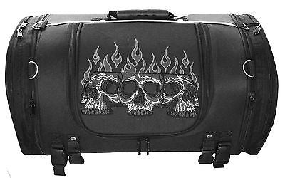 MOTORCYCLE NYLON TRUNK SKULL SISSY T BAR BAG WITH FLAME TRAVEL PLAIN LUGGAGE NEW