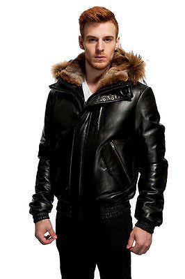 MEN'S ORIGINAL GOOSE DOWN BOMER LEATHER JACKET WITH REMOVABLE HOOD BUTTER SOFT