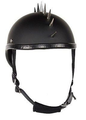 Motorcycle Flat Blk Gladiator Novelty Helmet with Punky Spikes