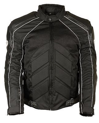 MEN'S MOTORCYCLE LEATHER/TEXTILE MESH RACER JACKET WITH ARMOUR BACK & ELBOWS