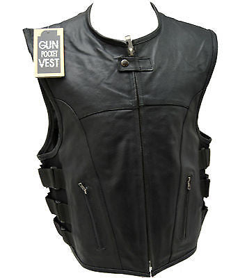 MEN'S BIKER UPDATED SWAT TEAM STYLE MOTORCYCLE LEATHER VEST W/2 GUN POCKETS NEW