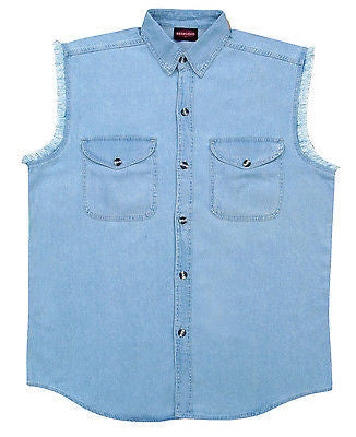 Men's Motorcycle Blue Cotton Cut off Shirt with Frayed Sleeves