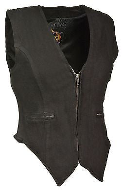 MOTORCYCLE WOMEN'S BLK DENIM ZIPPER VEST W/SIDE STRETCH SINGLE PANEL BACK