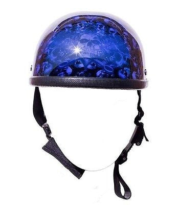 MOTORCYCLE RIDERS EAGLE BLUE SKULL GRAVEYARD HALF HELMET NOT DOT W/QUICKRELEASE