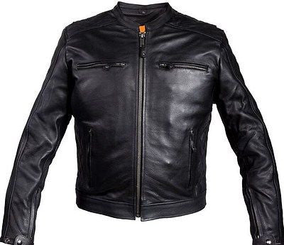 MEN'S MOTORCYCLE SCOOTER JACKET W/RIVET DETAILING W/TWO GUN POCKET NAKED COW NEW