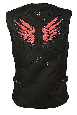 WOMEN'S MOTORCYCLE RIDING RED TEXTILE VEST W/ STUD & WINGS DETAILING REFLECTIVE