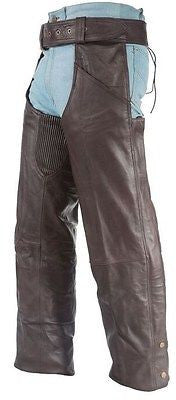MEN'S MOTORCYCLE RIDERS BRN CLASSIC LEATHER CHAP WITH STRETCH ELASTIC UPTO 6XL