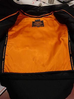 MEN/'S MOTORCYCLE BLK SIDE LACE VENTED LEATHER JACKET WITH 2 GUN POCKETS UPTO 11X