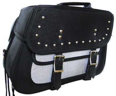 MOTORCYCLE GREY SADDLEBAG STUDS TWO STRAP SIZE MEDIUM ZIP OFF BAG NEW