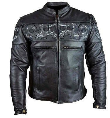 MEN'S REFLECTIVE SKULL MOTORCYCLE LEATHER CROSSOVER SCOOTER JACKET NEW BLACK