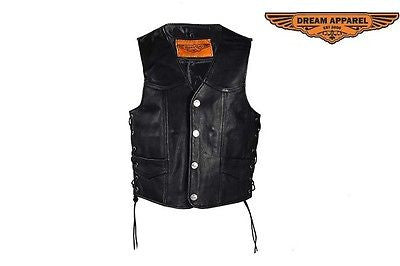 MEN'S MOTORBIKE BUTTER SOFT SIDE LACE BLK LEATHER VEST & 2 GUN POCKETS