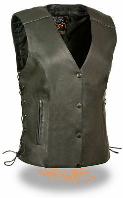 WOMEN'S MOTORCYCLE BLACK LEATHER VEST WITH SIDE LACE AND REFLECTIVE PIPING NEW