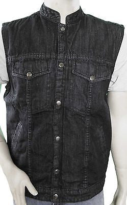 MEN'S SON OF ANARCHY BLACK DENIM MOTORCYCLE VEST 2 GUN POCKETS INSIDE