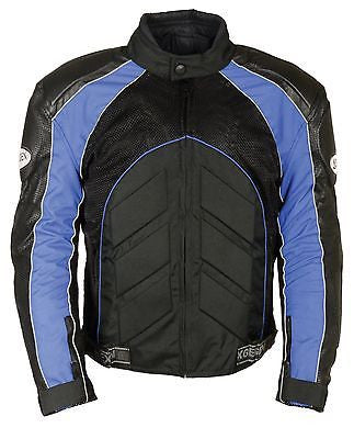 MEN'S MOTORCYCLE BLUE COMBO LEATHER/TEXTILE MESH RACER JACKET W/ARMOUR INSIDE