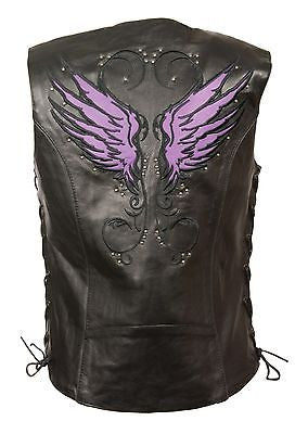 Women's purple leather vest with Studs wings back detailing w/gun pockets