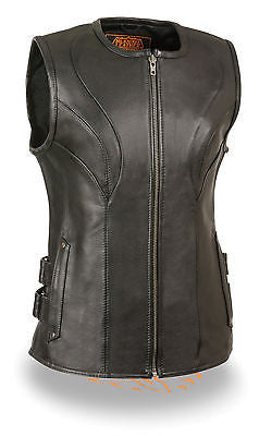 WOMENS MOTORCYCLE RIDERS BLK UPDATED SWAT TEAM STYLE LEATHER VEST BUTTERSOFT NEW