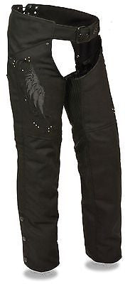 Motorcycle women's light weight blk textile chap with wing detail and rivet detailing