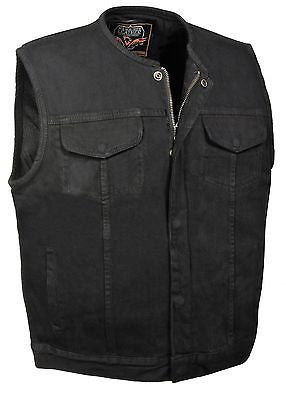 MEN'S SON OF ANARCHY BLK DENIM MOTORCYCLE VEST 1 GUN POCKET INSIDE WITH ZIPPER