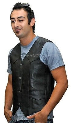 MEN'S MOTORCYCLE MOTORBIKE TOP GRAIN LEATHER VEST DURABLE SOFT LEATHER NEW