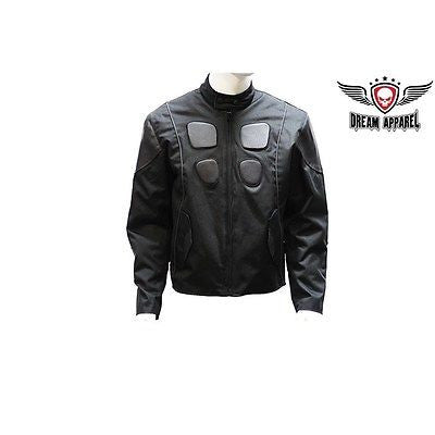 MEN'S MOTORCYCLE SCOOTER TEXTILE/LEATHER COMBO JACKET WITH REFLECTIVE STRIPES