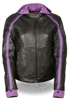 WOMEN'S STRIPED MOTORCYCLE SCOOTER LEATHER JACKET W/ REMOVABLE HOODIE BLK PURPLE