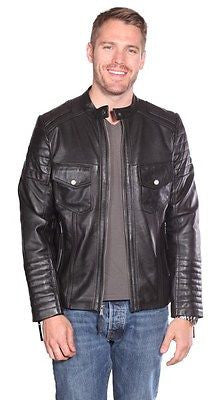CLASSIC SCOOTER MEN'S GENUINE LEATHER JACKET VERY SOFT TWO CHEST POCKETS