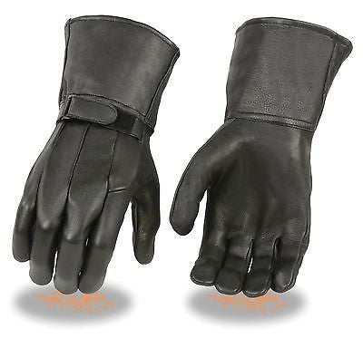 MEN'S GENUINE LEATHER WATERPROOF GUANTLET KNUCKLES GLOVES GOAT SKIN NEW