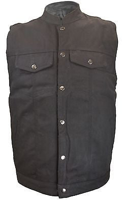 MEN'S SON OF ANARCHY BLK DENIM MOTORCYCLE VEST W/2 GUN POCKETS SINGLE PANEL BACK