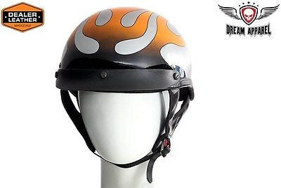 MOTORCYCLE BRAND NEW DOT APPROVED HALF HELMET WITH CHROME FLAME GRAPHIC NEW