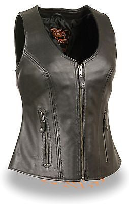 WOMEN'S MOTORCYCLE BUTTER SOFT BLK LEATHER FRONT ZIPPER VEST W/2 GUN POCKETS NEW